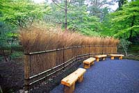 A traditional takeho-gaki (bamboo-branch fence)