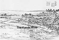 The area around the Kanda River northwest of Edo, in an 1830s' woodcut print by Hasegawa Settan (above), and the same area pictured in the Meiji Era (below), with the raised banks of the river and the Sekiguchi Basho-an, where the wooden statue of the poet (bottom) is enshrined.