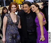 Cynthia Nixon (left) and Kristin Davis (right) from the TV series 'Sex and the City' fight over Al Pacino at the 10th annual Screen Actors Guild Awards in Los Angeles last week. A new study indicates women compete with each other over men and it could be labeled the 'Sex and the City hypothesis'