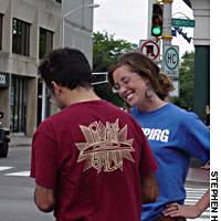 MASSPIRG's Hester canvassing on the streets of Cambridge, Mass., last week.