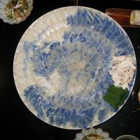 Clear favorite: Fugu meat is most often eaten as sashimi, and the artistically arranged platter of translucent slices here, known as usuzukuri, would serve several people at around ¥5,000 per head.