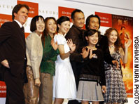 'Memoirs of a Geisha' director Rob Marshall (far left) with members of the cast (from left) Kaori Momoi, Michelle Yeoh, Zhang Ziyi, Ken Watanabe, Suzuka Ohgo, Koji Yakusho and Yuuki Kudo, at the news conference for the film at  Imperial Hotel, Tokyo, Nov. 28.