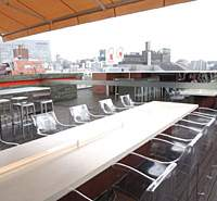 Nine floors up in central Shibuya and a world away from the hustle and bustle below lies Sumile, whose terrace area is perfect for a hot summer's night; their Tokyo-Italian cuisine includes Japanese Sirloin Bo-sushi (above).   SATOKO KAWASAKI PHOTOS