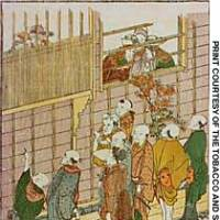 A print from the 'Azuma Asobi' series by Hokusai (1760-1849) shows Edoites gathering outside the Nagasakiya inn in the city's Nihonbashi Hongokucho district hoping to see members of the Dutch mission from Dejima, who stayed there during their annual visit to Edo Castle.