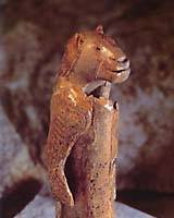 A mammoth-ivory statuette representing a half-lion, half-woman figure (Hohlstein-Stadel, Germany, Aurigcacian 40,000-28,000 years ago)