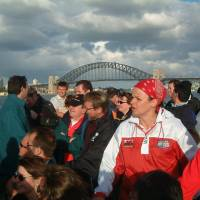 What a way to get to a World Cup game, with singing Welsh and Kiwi fans on a Parramatta River ferry to Olympic Park from Sydney's famed Circular Quay.