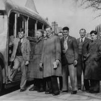 Alan Turing (far left) and fellow members of the Walton Athletic Club pictured in 1946.