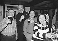 The GBC 'Beer Gang' on their inaugural pub crawl in Shibuya, at The Aldgate (above) and the German Farm Grill. |   SACHIO NISHIMOTO PHOTO; BRYAN HARRELL PHOTO