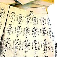 Records of parishioners that the shogunate required temples to keep during the Edo Period (1603-1867) are invaluable sources of information when compiling a family tree. Death registers such as this  kakocho   (above) also record posthumous Buddist names and details of family relationships.