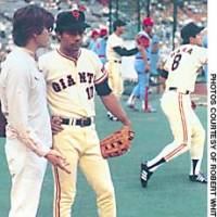 Robert  Whiting (left) chats with former New York Yankees outfielder Roy White at the Korakuen Stadium home of the Yomiuri Giants in 1982. White, who was with the Giants from 1980-82, is now a coach with the Yankees; while Tatsunori Hara, the player behind in the No. 8 shirt, recently finished a stint as manager of the Giants.
