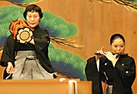 Women performing as on-stage noh musicians