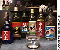 Different  shochu  varieties lined up and ready to go
