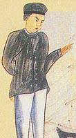 Otokichi, as he appeared in a Japanese sketch made when he came to Japan in 1849 disguised as a Chinese. (Photo courtesy of the National Archives of Japan)