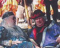 Wavy Gravy (right) chews the fat with a Hog Farm friend