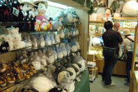 Ghibli characters at Yuzawaya (above); cuddly animals await new friends at Yamashiroya.