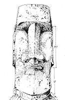 A technical illustration by Rapa Nui artist Christian Pakarati of a moai sited on the slopes of Rano Raraku (Photo by Christian Pakarati, courtesy of Easter Island Statue Project)