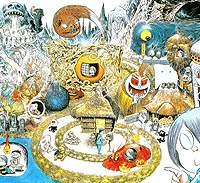 The ghoul-hero Kitaro, with his eyeball-like father on his shoulder (bottom right), is pictured here one a poster with an assortment of Shigeru Mizuki's goblin characters, many of which have their roots in traditional, monster-ridden folk tales of Japan. (Artwork courtesy of Mizuki Production)