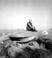 Takahashi on the statue of a turtle in Toyooka, Hyogo Prefecture