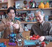 Kojin Ohno (left) and Hideaki Yoke, the driving forces behind the success of Transformers, at Takaratomy's base in Aoto, Tokyo.