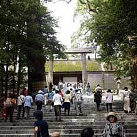 Visitors approach the Inner Shrine at Ise, Shinto's holiest site in Japan. | AP PHOTOS