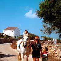 The boys with a friend and her horse outside home