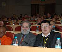 Gene Reeves (with beard), shown at the recent World Buddhist Forum in China, is a top scholar of the ancient faith who ministers to the International Buddhist Congregation of Rissho Kosei-kai in Tokyo's Suginami Ward.