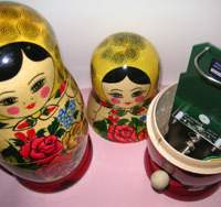 Opening a Russian-made matryomin cf,helb reveals inside a form of the theremin musical instrument. By shielding them inside matryoshka dolls, the instruments can be played together in groups. | PHOTO COURTESY OF KOICHIRO AIDA