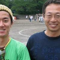 JICA staffer Takuya Murata (above left) and former national soccer manager Takeshi Okada at the Refugee Soccer Tournament in Tokyo; and a spectator supporting Myanmar's detained democracy leader.   JEFF KINGSTON PHOTOS