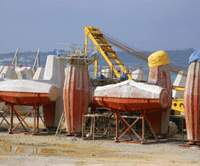 Tetrapods being made by the shore in Okinawa | PHOTO COURTESY OF KEN OYAMA