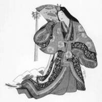 A high-born woman from the Heian Period clothed in formal court attire, including a red  karaginu  overgarment, a dark-green  uchigi  underrobe, a gold or silver  saishi  head ornament and a red  hakama  divided skirt — together with a hand-painted or dyed white-silk train