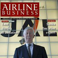 Retired JAL adviser Geoff Tudor graces a spoof front cover for Airline Business magazine (above) and cruises through Venice with his wife, Naoko. | KEVIN PHILIPPS PHOTO