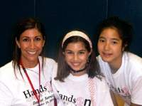 Deva Hirsch, daughter Sydney and friend Christina pose for a photo on the Day of Service.