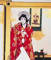 Kaishun Nakamura (above) as Princess Yaegaki at the Kabukiza this month; Utaemon Nakamura VI in the same role in 1983