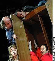 Hideki Noda and other cast members rehearses for 'Red Demon,' opening at London's Young Vic next month.