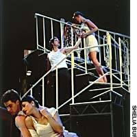 Pairs of dancers act out the roles of Speight and Glenda as seduction sets in 'Play Without Words' (above). Richard Winsor as Anthony entertaining his girlfriend Glenda in his posh Chelsea flat (below).