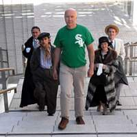 Irvine Welsh, coauthor with Dean Cavanagh of the play 'Babylon Heights,' with cast members at the Mills Theatre in Dundrum, Dublin. | AP PHOTO