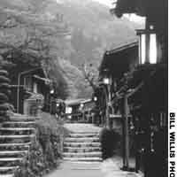 A lantern-lit street beside the old Nakasendo.