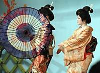 Geisha at the Geigi Kenban center in Atami, Shizuoka Prefecture, perform elaborate dances for visitors at a tiny fraction of the cost of a private performance.