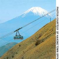 The ropeway ride will take you up to the top of Mount Komagatake where there are spectacular views of Mount Fuji, Lake Ashi and the Fuji-Hakone-Izu national Park.