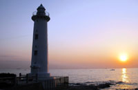 The lighthouse at Mihama on the shore of Ise Bay.