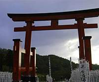 A huge torii gate marks the approach to Yudonosan Jinja (above); temples offering accommodation in Haguro-machi serve delicious Buddhist vegetarian fare known as shojin-ryori. | CHRIS BAMFORTH PHOTOS