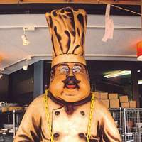 A chef mascot at a Kappabashi restaurant supply store