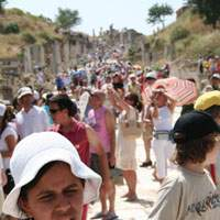 Hordes of tourists exploring the well-preserved ancient city of Ephesus | HUGH PAXTON PHOTOS