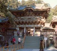 Yomei-mon gate (above) stands in the precincts of Nikko Tosho-gu Shrine, a World Heritage site, which is dedicated to Tokugawa Ieyasu, the first shogun of the Tokugawa clan, in the city of Nikko, Tochigi Prefecture. The shrine's five-story pagoda (below) is currently lit up at night. | KYODO PHOTOS
