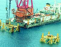 A Chinese complex built for a natural gas project near Japan's exclusive economic zone in the East China Sea is shown in this photograph taken Wednesday. | PHOTO COURTESY OF JAPAN, OIL, GAS AND METALS NATIONAL CORPORATION