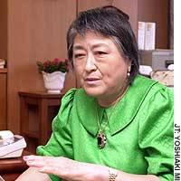 Teruko Noda, a commissioner with the Securities and Exchange Surveillance Commission, speaks in her office in Tokyo.