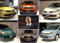 Nissan Motor Co. President Carlos Ghosn unveils six new models for the domestic market Thursday in Yokohama: (clockwise from top left) Tiida, Murano, Tiida Latio, Lafesta, Fuga and Note.