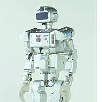 The Humanoid Robot HRP-3P, developed by Bridge builder Kawada Industries Inc. and two other firms and designed to take on work in tough conditions, is shown in this company handout photo.