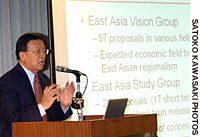 Hank Lim, research director at the singapore Institute of International Affairs, discusses the prospect of an East Asian economic community during the Dec. 2 symposium.