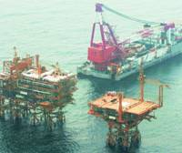 A drilling platform is constructed by China in the Tianwaitian gas field, which lies a few kilometers from Japan's median line in the East China Sea, in this 2005 photo.